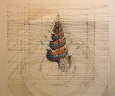 Now You Can Color Rafael Araujo's Wildly Complex Drawings Yourself | Many of his drawings begin with a scaffolding box. | Credit: Rafael Araujo | From Wired.com