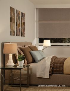 Control your lights and shades without getting out of bed www.lutron.com