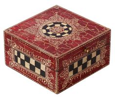 """Bulk Wholesale Handmade 5.5"""" Square Mango-Wood Jewelry Box in Red Decorated with Check Patterns, Traditional-Look Motifs, Crackled-Effects & a Metal Knob – Antique-Look Boxes from India"""