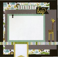 Premade Baby Scrapbook Page - Baby Boy | SusansScrapbookShack - Paper/Books on ArtFire