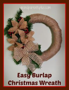 Easy Burlap Christmas Wreath Inexpensive items and easy to follow tutorial! Anyone can make this! Pin for later or make one today!