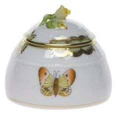 Herend Queen Victoria Honey Pot With Rose Lid by Herend. $180.00. Herend China Queen Victoria Honey Pot With Rose Lid Trimmed in 24k Gold 2 1/2 inches high Queen Victoria Pattern