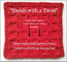 Get ready for four weeks of free washcloth patterns! If you're new to knitting, but feel ready to dive into a new technique, then Swish with a Twist is chock-full of techniques that you can add to your knitting arsenal. Come get your pattern now! Knitting Blogs, Knitting Stitches, Knitting Patterns, Crochet Patterns, Knitting Tutorials, Knit Or Crochet, Learn To Crochet, Yarn Projects, Knitting Projects