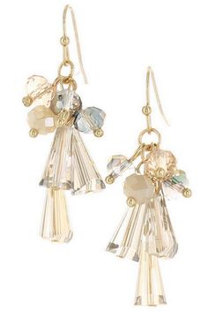 CRYSTAL AND GLASS BEADS CLUSTER DROP EARRING