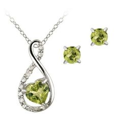 Sterling Silver Peridot & Diamond Accent Swirl Heart Necklace and Earrings Set SilverSpeck.com. $24.99. Save 62% Off!