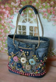 Best 12 Free Tutorial: Easy support for sewing in pocket bottoms - Diy tasche nähen - bags Denim Crafts, Boho Bags, Old Jeans, Denim Jeans, Denim Bags From Jeans, Recycled Denim, Fabric Bags, Fabric Basket, Scrap Fabric