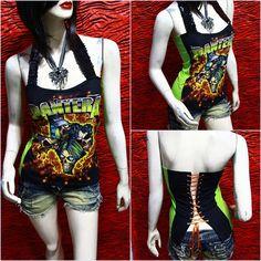 Pantera Metal Punk Rock DIY Sexy Glamour Corset Tank Top Shirt Fit to size S,M,L. $25.00, via Etsy.
