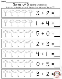SUMS OF 5 Math Worksheets for kindergarten - FREE printables for April in math - reading and writing for pre-k - first g Free Kindergarten Worksheets, Printable Math Worksheets, Homeschool Kindergarten, Free Printables, Subtraction For Kindergarten, Math Activities, Homeschooling, Math Sheets, Math Addition