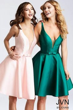 Fit and flare short mikado dress features sleeveless bodice with spaghetti straps plunging neckline and open back, available in black, green, pink and Types Of Dresses, Short Dresses, Jovani Dresses, Short Cocktail Dress, Dress Silhouette, Hot Dress, Formal Gowns, Plunging Neckline, Homecoming Dresses