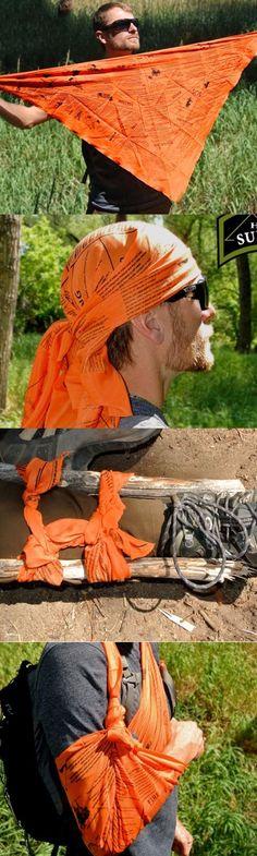 Head for Survival®️ ORANGE Triangular Bandana Cravat with Survival Information @aegisgears