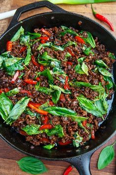 20 Minute Thai Basil Beef Recipe : A quick, easy and tasty Thai style beef with plenty of fresh basil! Thai Cooking, Asian Cooking, Cooking Recipes, Cooking Oil, Cooking Turkey, Thai Dishes, Beef Dishes, Thai Basil Beef, Thai Basil Recipes