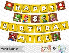 Imprimibles Super Banner de Mario Super Mario por OneStopDigital