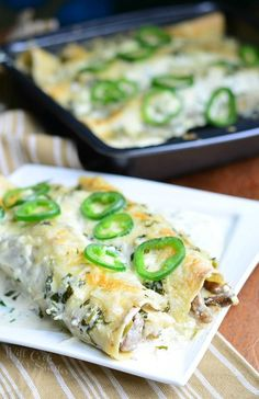 Steak Enchiladas with Jalapeño Cilantro Cream Sauce