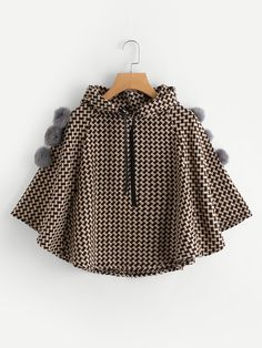 Seamless Pattern Pom Pom Trim Hooded Poncho Coat