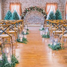 Freestanding trees at this evergreen inspired wedding. Let's do Colorado indoors in Florida. Winter wedding with Christmas trees and fall Wedding colors. Christmas decor wedding decor
