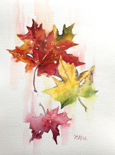 Small works, demos and sketches Watercolor Leaves, Watercolor Artwork, Watercolor Cards, Tattoo Watercolor, Autumn Painting, Autumn Art, Fall Leaves Tattoo, Autumn Leaves, Leaves Sketch