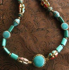 tantilizing TURQUOISE BEAD NECKLACES 2 to choose by eastwestglobal, $138.00.  Wow! Today, I met Claire, the owner of this shop. She was at Beads Louise in Buena Vista, CO--one of my favorite shops because of its amazing selection.