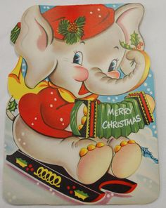 Die-Cut Elephant Playing Accordian - 1950 Vintage Christmas Stand Up Large Card 1950s Christmas, Vintage Christmas Cards, Christmas Greeting Cards, Christmas Greetings, Christmas Fun, Vintage Elephant, Vintage Birds, Valentines Greetings, Vintage Valentines