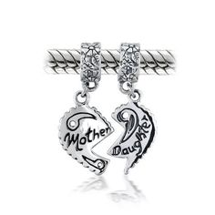 TOPSELLER! Mothers Day Gifts Bling Jewelry Mother Daughter Heart Dangle Bead Pandora Chamilia Troll Biagi Charms Compatible $24.99