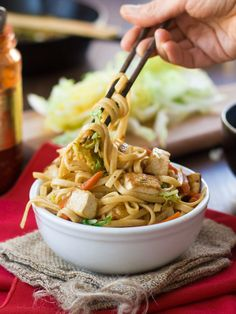 These vegan Shanghai noodles are stir-fried with veggies, drenched in a savory sauce and served up with crispy pan-fried tofu.   Full recipe