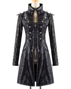 Punk Rave Mens Steampunk Jacket Coat Black Faux Leather Goth Military Visual Kei | eBay
