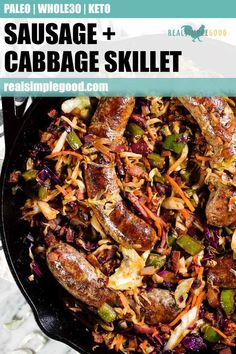 Sausage and Cabbage Skillet (Paleo, + Keto) Quick, easy and satisfying! This Paleo, + Keto sausage and cabbage skillet is a great meal prep recipe or weeknight dinner! It's a low carb, comfort food dish the whole family will love! Whole 30 Recipes, Pork Recipes, Paleo Recipes, Low Carb Recipes, Real Food Recipes, Cabbage Recipes, Paleo Food, Cleanse Recipes, Quick Recipes