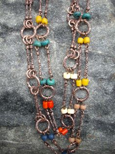 Single Strand Copper Stick Chain Necklace by DesignsbyPattiLynn