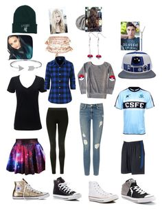 """Friend discription part two"" by mercy123 ❤ liked on Polyvore featuring Converse, Bling Jewelry, Topshop, Accessorize, Frame Denim and Fila"