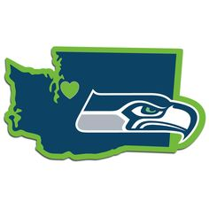Description: It's a home state decal with a sporty twist! This Seattle Seahawks decal feature the team logo over a silhouette of the state in team colors and a heart marking the home of the team. The