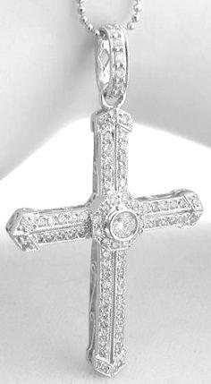 14k White Cross Charm Best Quality Free Gift Box