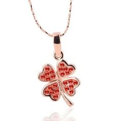 18KGP Red Crystal Pave Clover Pendant Necklace