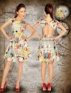 Folter Clothing Comic Book Dress. So cool, and an inspiration for me to make my own out of some Disney fabric.