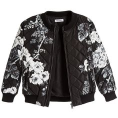 Dolce Gabbana Boys Black Floral Quilted Bomber Jacket ($385) ❤ liked on Polyvore featuring kids, baby and coats