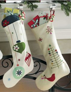 99 Cute Whimsical Christmas Ornaments Ideas for Your Holiday Decoration - Embroidered Christmas Stockings, Vintage Christmas Stockings, Christmas Stocking Pattern, Felt Stocking, Xmas Stockings, Christmas Sewing, Noel Christmas, Homemade Christmas, Christmas Projects