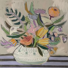 Happy Flowers, Art Flowers, Painted Flowers, Flower Bouquet Drawing, Fine Art Textiles, Words On Canvas, Multimedia Arts, Science Art, Art Sketchbook