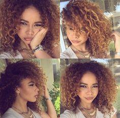 Curly Kinky Hair Curls Blonde Honey Dip Dye Ombré Natural Crystal Westbrooks