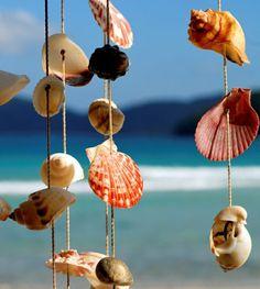 windspiel aus muscheln bunt diy idee meer strand