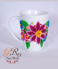 Floral Polymer Clay Mugs   Ananasa