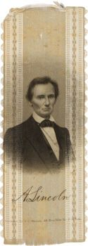 Political:Ribbons & Badges, Abraham Lincoln: The Rarer Smaller-size 1860 Silk Campaign Ribbonwith Brady Portrait. ...