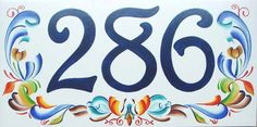 Rosemaling house number plaque. Decorative folk by BeachStudio7