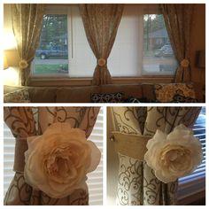 DIY floral/burlap curtain tie backs.