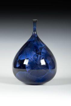 Matt Horne Small Dark Blue Vase with Flared Top
