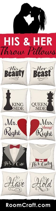 Whether you've got the beauty or the brawn you can claim your side of the couch or bed with these adorable pillows! They are perfect for adding a sweet touch to your own home or for giving as a wedding or anniversary gift. Our quality pillow covers are made to order in the USA and feature 3 wooden buttons on the back for closure. Each design is available in multiple fabrics, colors, and sizes. Choose your favorite and create a truly unique couples pillow set. #roomcraft