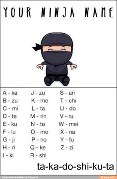 What's your ninja name? 12 Sources of Ninja Day Inspiration