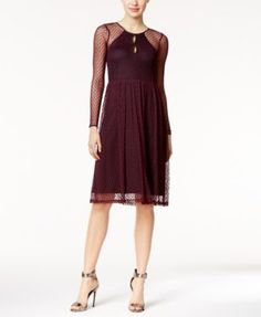 BCBGeneration Illusion Keyhole A-Line Dress $82.99 Embrace the modern vintage vibes of a BCBGeneration midi dress cloaked in a delicate layer of Swiss dot-like lace for a touch of romance.