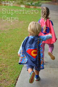 It's a bird… It's a plane… It's Super Charlie and Super Isla! Most little ones go through a superhero phase at some point … It's a bird… It's a plane… It's Super Charlie and Super Isla! Most little ones go through a superhero phase at some point … Kids Cape Pattern, Superhero Cape Pattern, Diy Superhero Costume, Superhero Capes, Dinosaur Costume, Sewing For Kids, Baby Sewing, Cape Diy, Super Hero Capes For Kids
