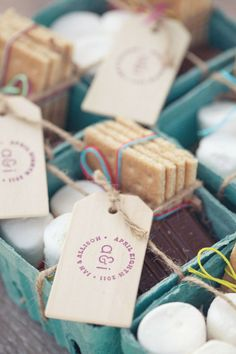 s'mores favors for a Labor Day bash Photography: This Love of Yours Design + Planning: Engaged & Inspired Floral Design: huckleberry Karen Rustic Wedding Decorations, Unique Wedding Favors, Unique Weddings, Wedding Gifts, Wedding Ideas, Southern Weddings, Wedding Stuff, Wedding Cakes, July Wedding