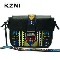 KZNI Genuine Leather Bags for Women Leather Handbags Summer Woman Bag 2017 Small Handbag Women Famous Brands Sac Femme 1412