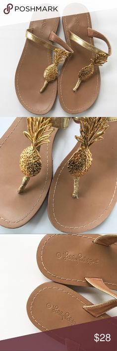 Lilly Pulitzer Pineapple Sandals Lilly Pulitzer for Target pineapple sandals. Tan bottom with gold strap and metal gold pineapple. Some overall light wear. Lilly Pulitzer for Target Shoes Sandals