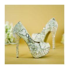 b809772f Sparkly White Wedding Shoes 2019 Beading Crystal Rhinestone Pearl Flower 14  cm Stiletto Heels Round Toe Wedding Pumps